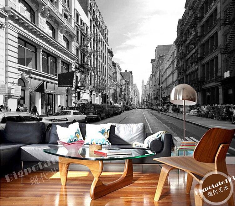 Фото обои 3d стерео Настенные обои Гостиная диван ретро ТВ фоне обоев белый уличный Нью-Йорке обои