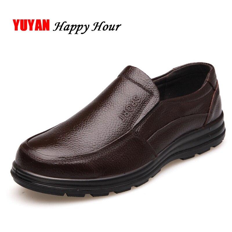 Zapatos de cuero genuino de los hombres de la marca de calzado antideslizante suela gruesa de los hombres de la moda Zapatos casuales zapatos de hombre de alta calidad mocasines de piel de vaca K059