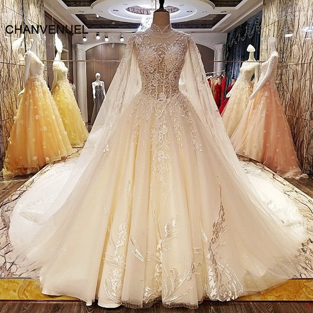 Ls5462 Unique Wedding Dresses Beading Ball Gown Lace Up Back High Neck Gowns Vestido