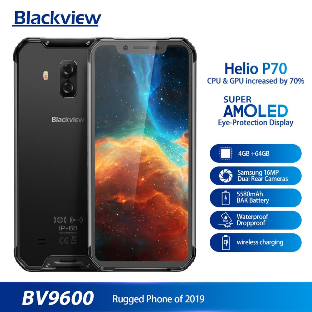 Blackview BV9600 6.21 Inch 19:9 AMOLED IP68 Waterproof Mobile Phone Helio P70 4GB 64GB 5580mAh Android 8.1 NFC Rugged Smartphone(China)