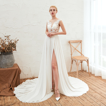 2019 Newest  Long Evening Dresses White Illusion Gowns For Women Court Train Formal Dress