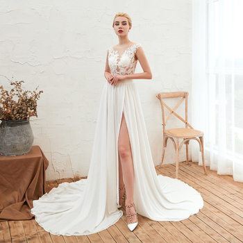 2019 Newest  Long Evening Dresses White Illusion Evening Gowns For Women Court Train Formal Dress