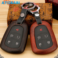 ATOBABI Wood Material Car Key Case Keychain for Cadillac CTS XTS ATS ATS L XLS SRX Smart Remote Fob Shell Cover Car Accessories