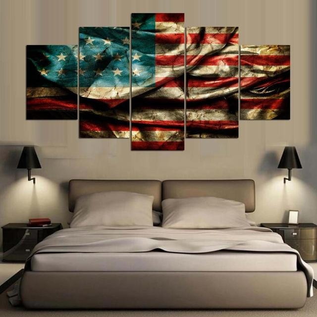 Poster HD Printed Canvas Large Painting Frame Home Decor 5 Pieces Retro American  Flag Wall Art