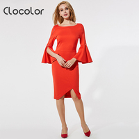 Clocolor Women Dress Solid Orange Black Flare Sleeve Slash Neck Zipper 2017 Autumn Casual Fashion Women