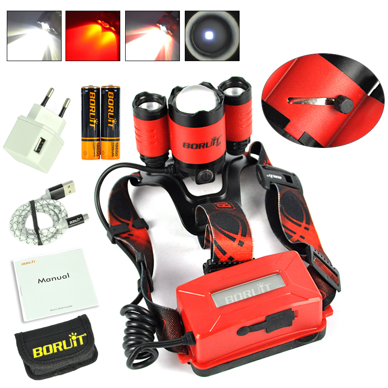 Boruit B22 18650 Rechargeable LED Headlamp Red Light Cree XM-L2 Led Zoomble Waterproof Torch Flashlight Headlight USB Charging led headlamp cree xm l2 2xpe led waterproof red light torch flashlight usb headlamp rechargeable with 18650 battery and charger