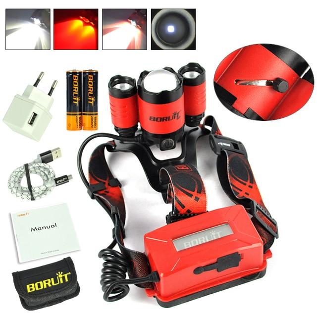 Boruit B22 18650 Rechargeable LED Headlamp Red Light Cree XM L2 Led Zoomble Waterproof Torch Flashlight Headlight USB Charging