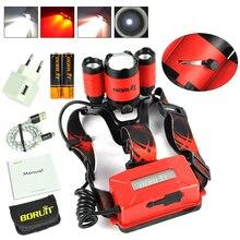 Boruit B22 18650 Sạc Đèn LED Đỏ Sáng Cree XM L2 LED Zoomble Chống Nước Đèn Pin Đèn Pin Đèn Pha Sạc USB