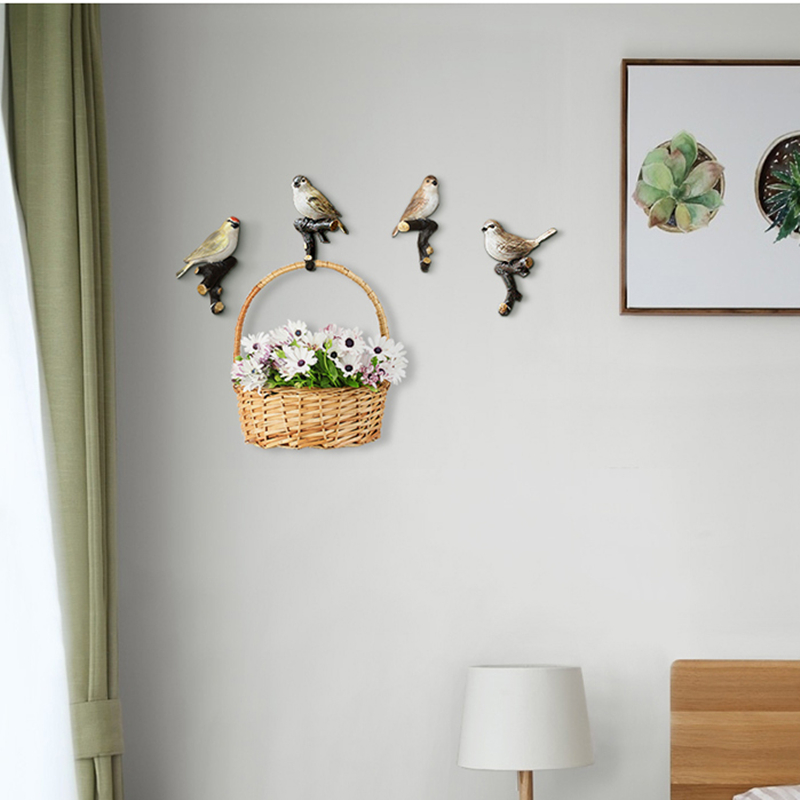 4 ชิ้น/เซ็ตน่ารักนกเรซิ่นสัตว์อเมริกันตกแต่งห้องน้ำ Hook Hook Hook แขวนผนัง Hook-ใน ตะขอและราว จาก บ้านและสวน บน   3