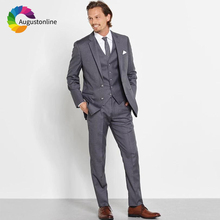 Grey Men Suits Business Wedding Blazer Custom Slim Fit Formal Groom Tailored Tuxedo Best Man Prom Terno Masculino 3 Pieces