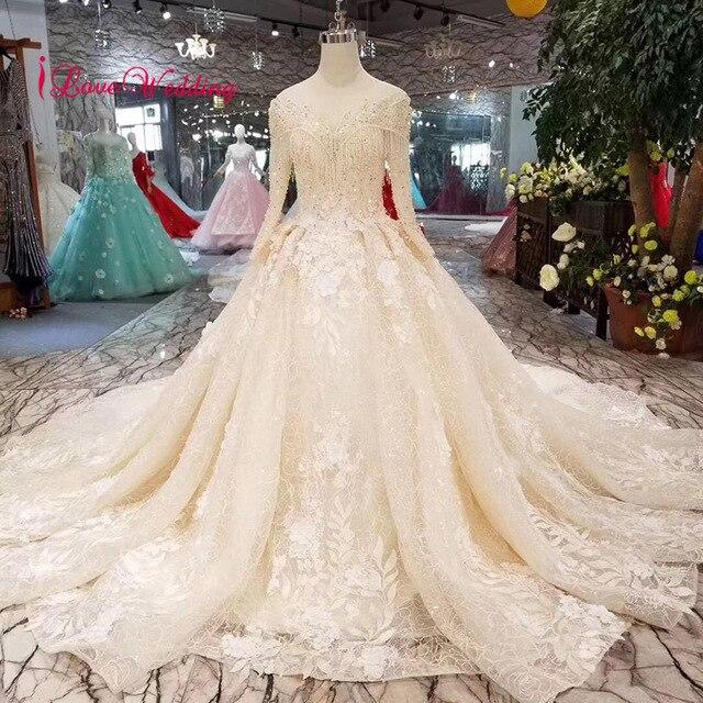 859fcae4723a LS111601 New Fashion 2019 Ball Gown Crystal Tassel Wedding Gowns Custom  made Long Sleeve Wedding Dress Puffy Bride Dress