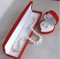 free shipping>>> GORGEOUS1810 11MM + SOUTH SEA NATURALWhitePEARL NECKLACE Earring Set+BO t