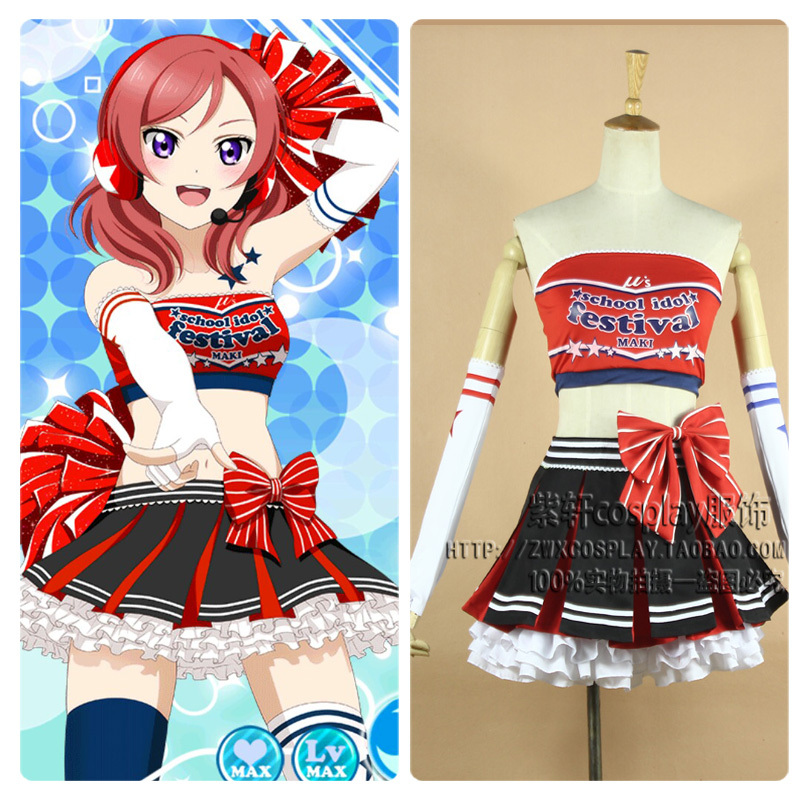 Japanese Anime Love Live Cheerleader Maki Nishikino Cosplay Costume Uniform Outfit Cheer Dress