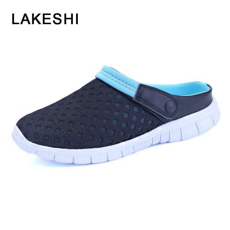 LAKESHI Summer Sandals Women Sandals Fashion Breathable Mesh Shoes Women Flats Flip Flops Casual Women Shoes Beach Sandals