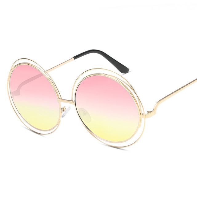 def70dde7dee Lucky Lion Oversized Round Sunglasses Women Brand Designer Sun Glasses  Female Quality Ladies Shades Mirror lunette UV400