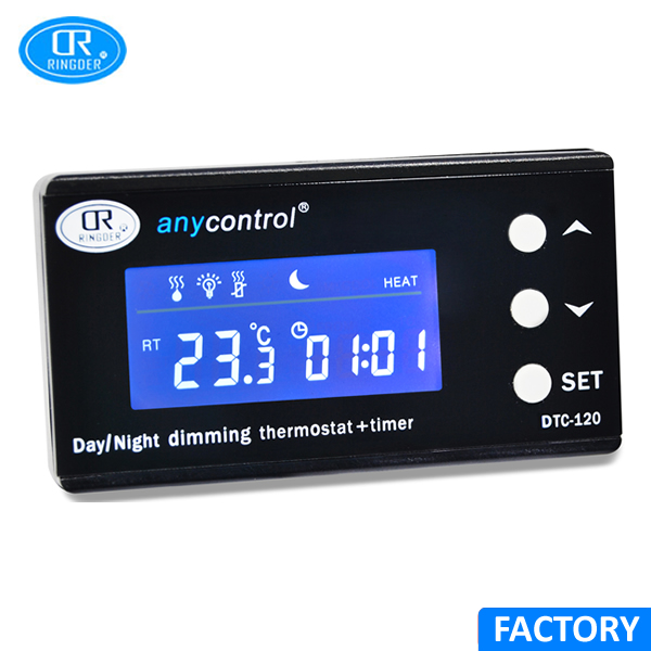 RINGDER DTC-120 0-50C Digital Day/night Reptile Dimming Thermostat with Plug Socket Regulator Dimmable Temperature Controller new original series temperature controller dtc2001v1 dtc thermostat