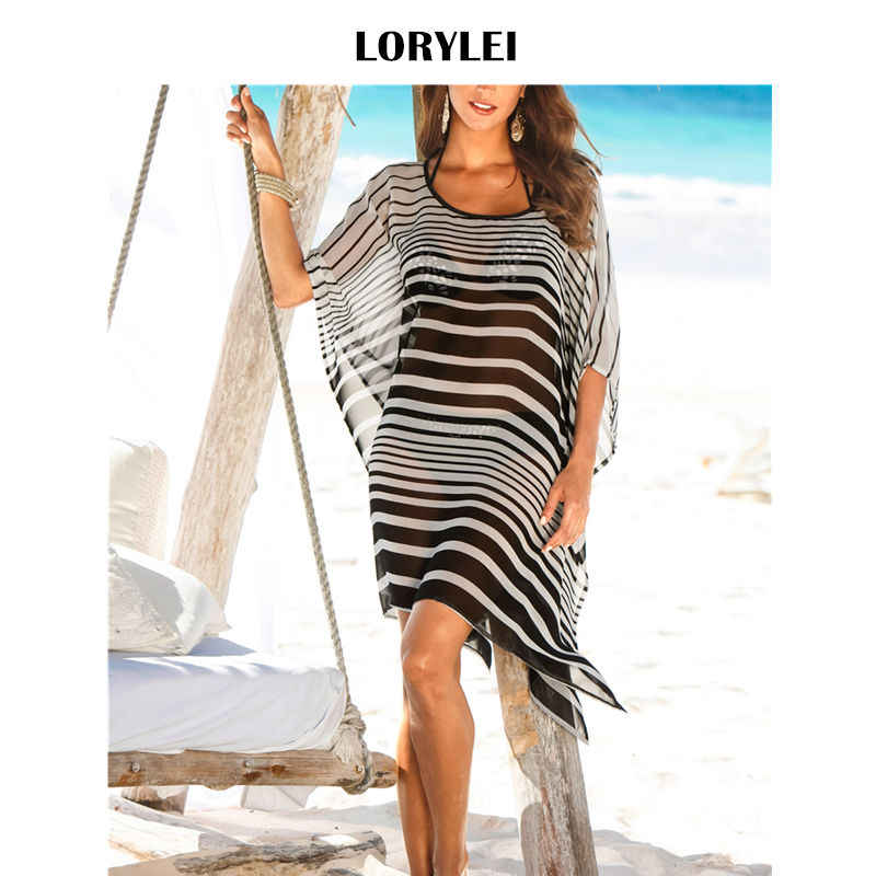 35d2553d84 Sheer Chiffon Beach Cover Up Tunic Women Summer Beachwear Plus Size Fashion  Striped Batwing Sleeve Mini