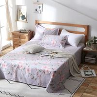 Hot Sale Floral Birds Bed Sheet 100% Cotton Mattress Protector Cover Flat Sheet 3 Piece Soft Bedspread Twin Full Queen King Size