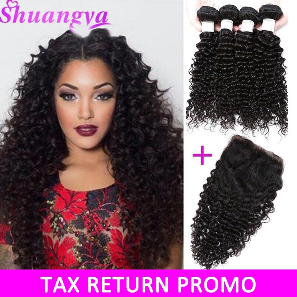 Brasilianske Deep Wave Hair Top Human Hair Bundler Med Lukning Gratis - Menneskehår (sort)