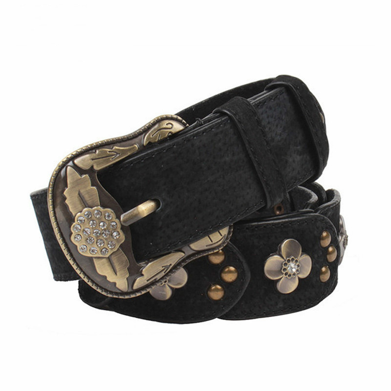HOT SALE! 2018 Belts for Women Leather Belt Strap Female Crystal Diamond Flower Elegant Pin Buckle Band Jeans Cintos Feminino