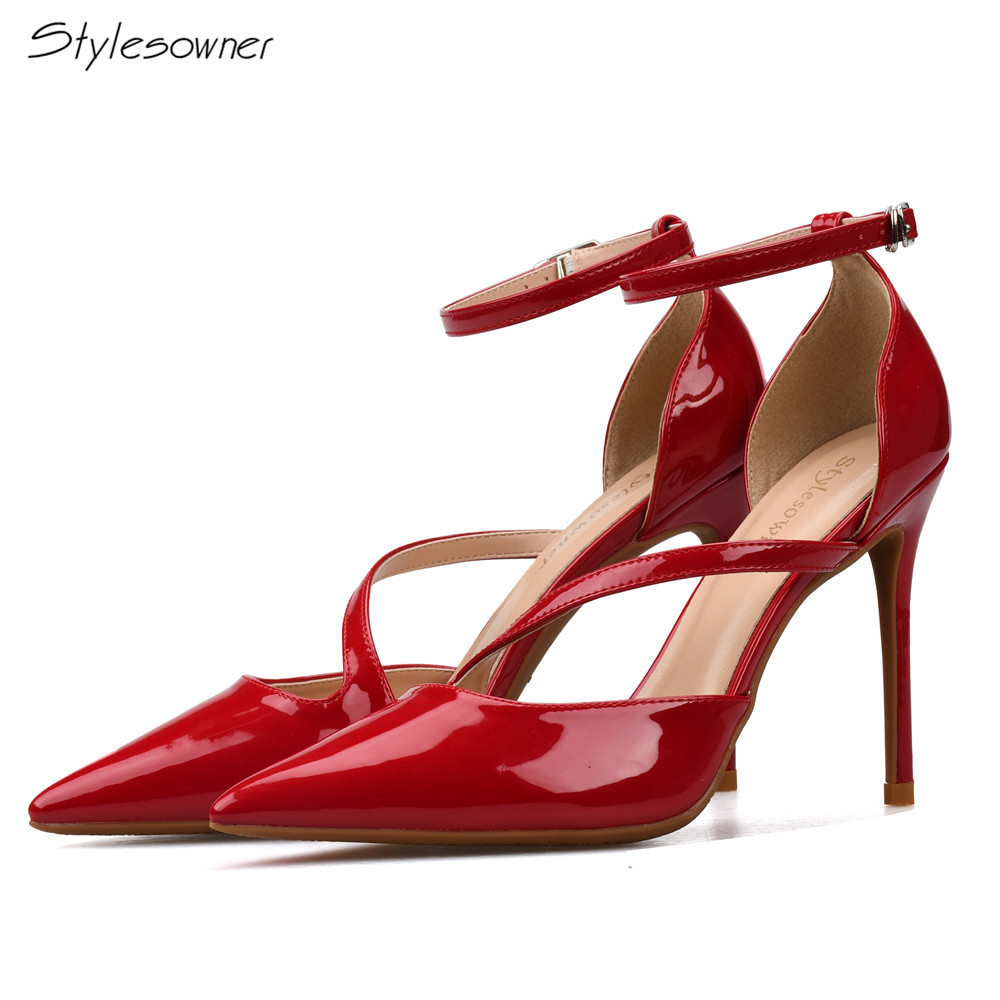 Stylesowner Women Pumps Plus Size 33-46 Fashion Ankle Buckle Pointed Toe High Heels Wedding Lady Woman Shoes Black Red White dorisfanny plus size 33 45 hot sale women pumps round toe shoes black white red nude pump high heels wedding shoes