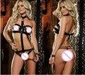 Сексуальное женское белье Сексуальный ролевые игры связаны Искусственная кожа ladies open груди сексуальный костюм нижнее белье Экзотические белье lenceria сексуальная