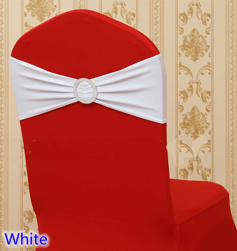 White colour on sale chair sash with Round buckles for chair covers spandex band lycra sash bow tie wedding decoration