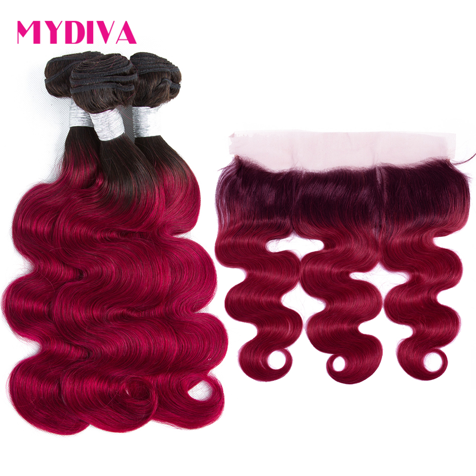 1B Burgundy Ombre Body Wave Bundles With Frontal Closure 2 Tone Non Remy Brazilian Hair Weave