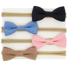 Hair bow headband Little girls hairbow Kids elastic hair accessories Newborns hair accessories bows hairbands 4pcs/set HB055
