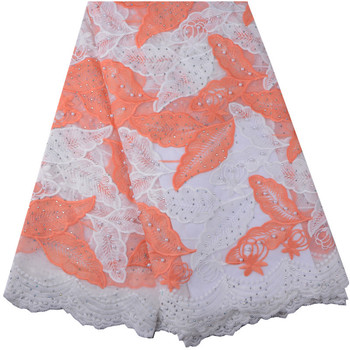 African nigerian lace fabric french net lace fabric lace with bead embroidered Tulle lace trim 2018 high quality for wedding