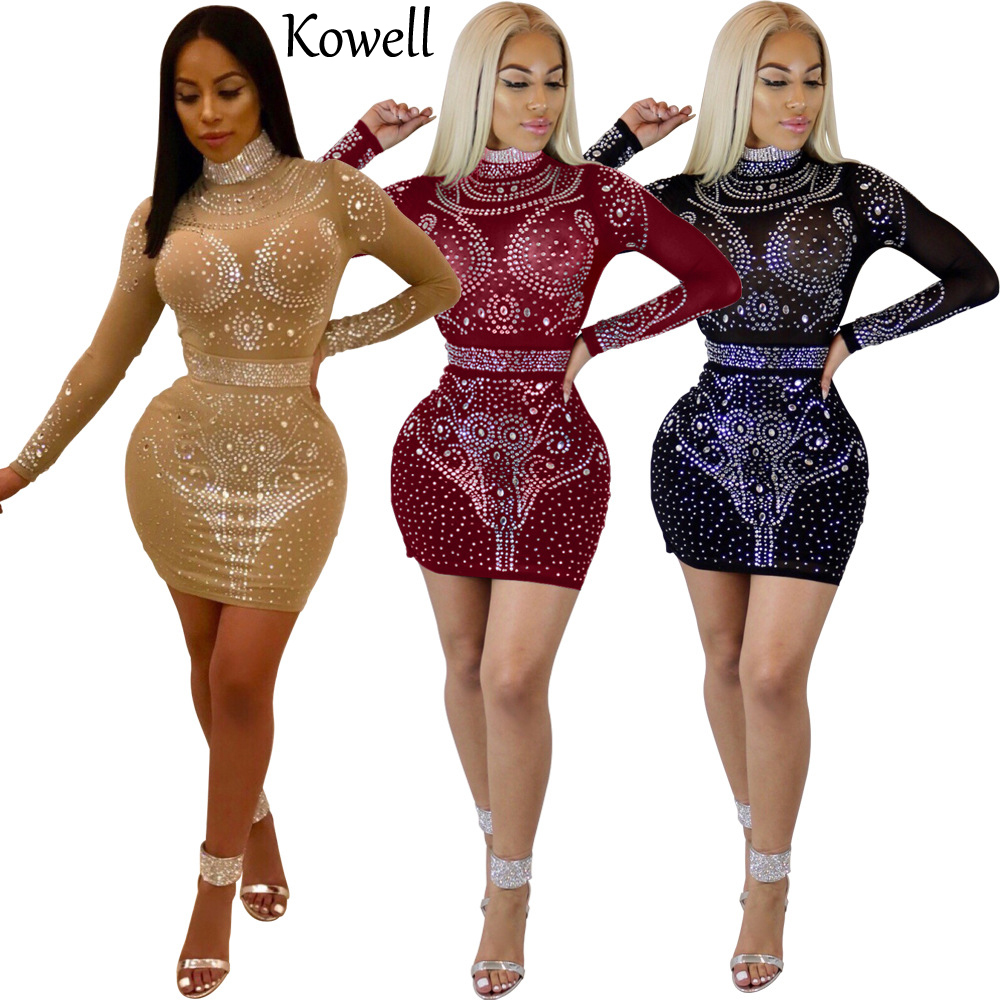 2018 New Fashion Women High Quality Material Stretch Net Cloth Diamonds Bodycon Dress Long Sleeves Package Hip Sexy Party Dress
