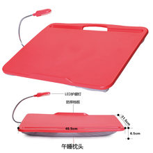 Brand Mini Portable Soft ABS Laptop Desk With LED Lamp Creative Computer Table As Pillow For Bed/Car/Sofa/Outdoor Camping Carry(China)