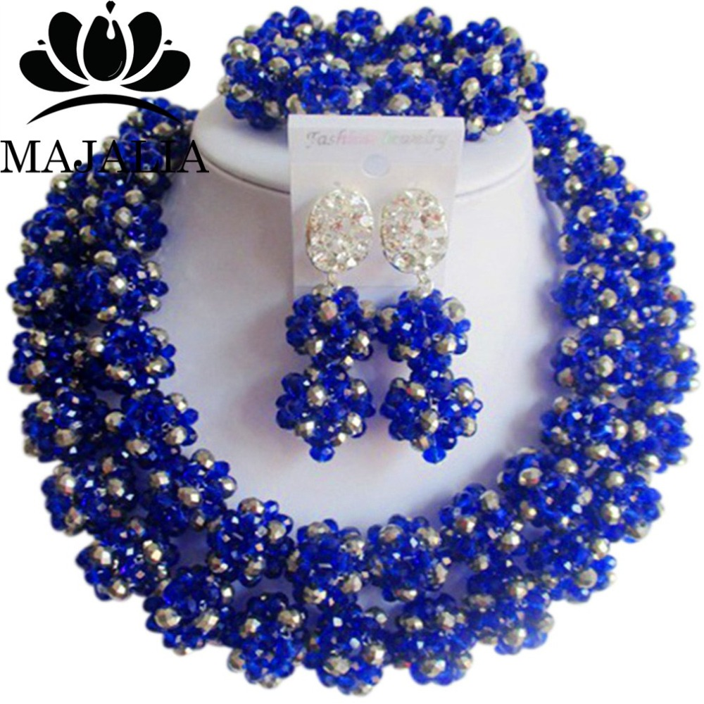 Trendy <font><b>Nigeria</b></font> Wedding african beads <font><b>jewelry</b></font> <font><b>set</b></font> Royal Blue crystal necklace bracelet earrings Free shipping VV-291 image