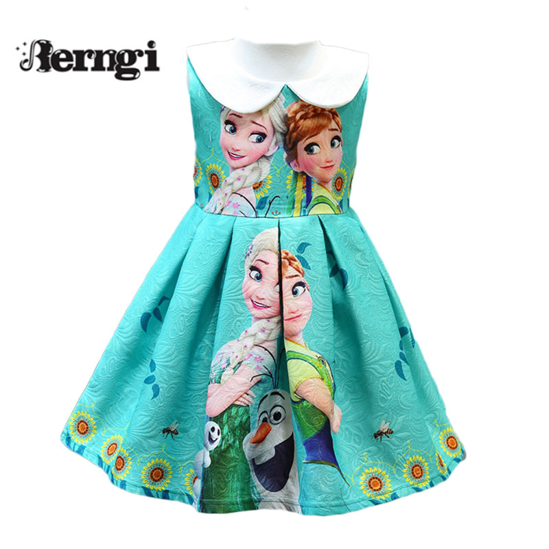 Berngi New Anna&elsa Sophia girl dress Stamp princess Sleeveless vest Casual Sofia Kids Clothes for 2-7yrs
