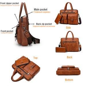 جيب BULUO الرجال حقيبة أعمال ل 13'3 بوصة محمول حقيبة أكياس 2 في 1 مجموعة حقائب عالية الجودة جلدية حقائب مكتبية اليد الذكور