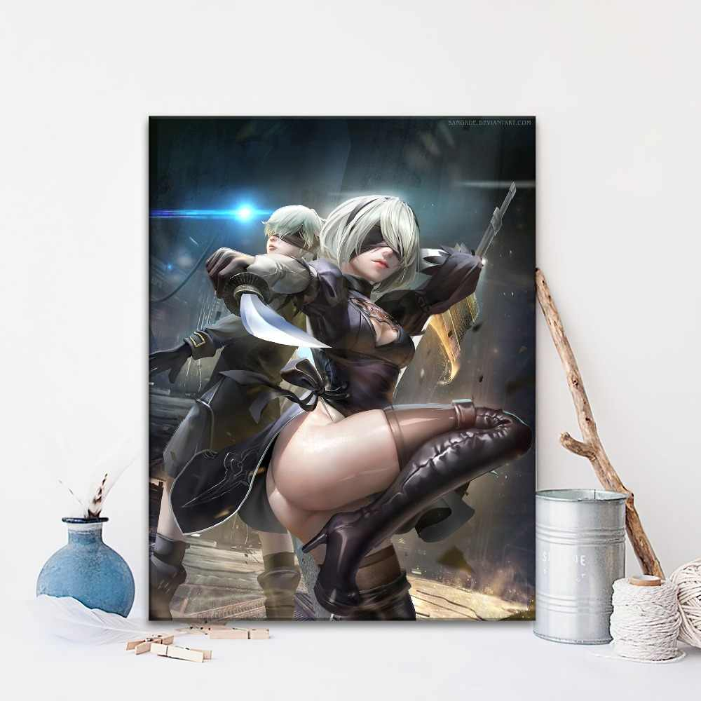 Nier Automata Game Sexy 2B And 9S Picture Modern Artwork Home Decor Wall Top-Rated Canvas Print Type 1 Piece Style Poster