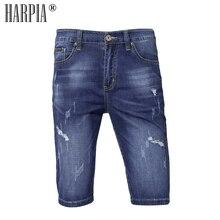 Harpia Men's Clothing Summer Bermuda Male Short Jeans Denim Shorts Cotton Ripped Jeans For Men Plus Size Cowboy Pants Capris