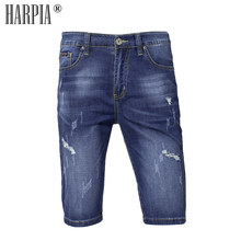 ebbc6f77d9 Harpia Men's Clothing Summer Bermuda Male Short Jeans Denim Shorts Cotton  Ripped Jeans For Men Plus Size Cowboy Pants Capris