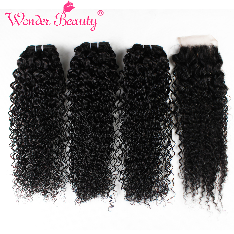 Wonder Beauty Hair Mongolian afro Kinky Curly 3 bundles with lace closure nonRemy Hair pieces extensions 100% Human Hair Weaving