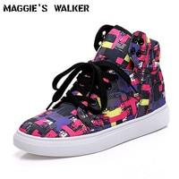 Maggie S Walker Women Denim Casual Shoes Platform Graffiti Lacing High Top Shoes Size 35 39