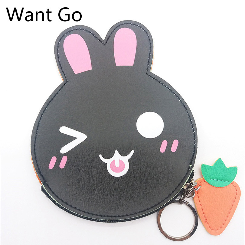 Want Go New Sweet Rabbit Women Coin Purse Animal Print Girls Coin Collection Bag Zipper Pu Leather Small Bag Mini Wallets Purse