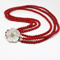 Beautiful style 4 rows red artificial coral 6mm round beads white mother shell flower clasp cute necklace 17-18inch B1453
