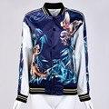 Неприкрытая бомбардировщик куртка женщин Темно-синий тигр орел Печатной сувенирной куртка пальто Casaul куртки бейсбола sukajan
