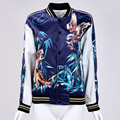 Unpadded cazadora mujeres Oscuro azul tigre águila Impreso recuerdo Casaul capa de la chaqueta de béisbol chaqueta sukajan
