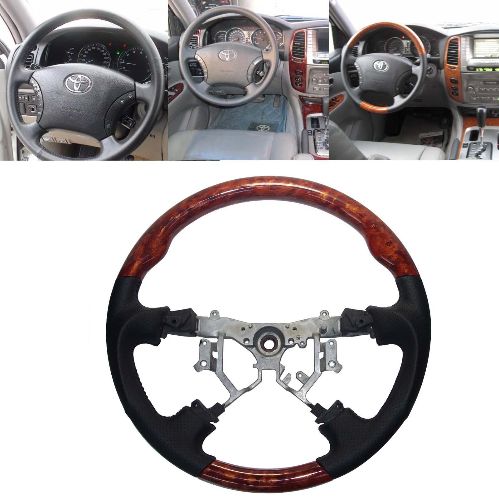 Black Leather Wood Sports Steering Wheel Compatible for 2003-2007 Toyota Land Cruiser 100 4700 FJ100 Prado FJ120 LX470 GX470 Alphard