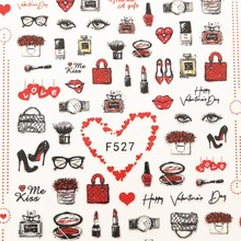 Newest F series 527 528 sexy design nail sticker 3d perfume decal back glue DIY decorations for art