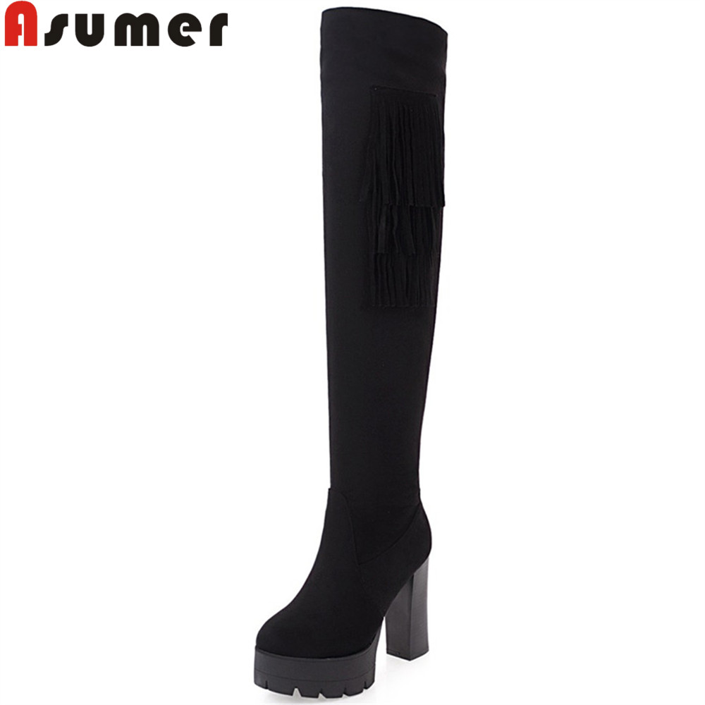 ASUMER 2018 hot sale new arrive women boots round toe platform black gray Khaki ladies boots fringe flock over the knee boots asumer 2018 hot sale new arrive women boots pointed toe black autumn winter ladies boots zipper buckle over the knee boots