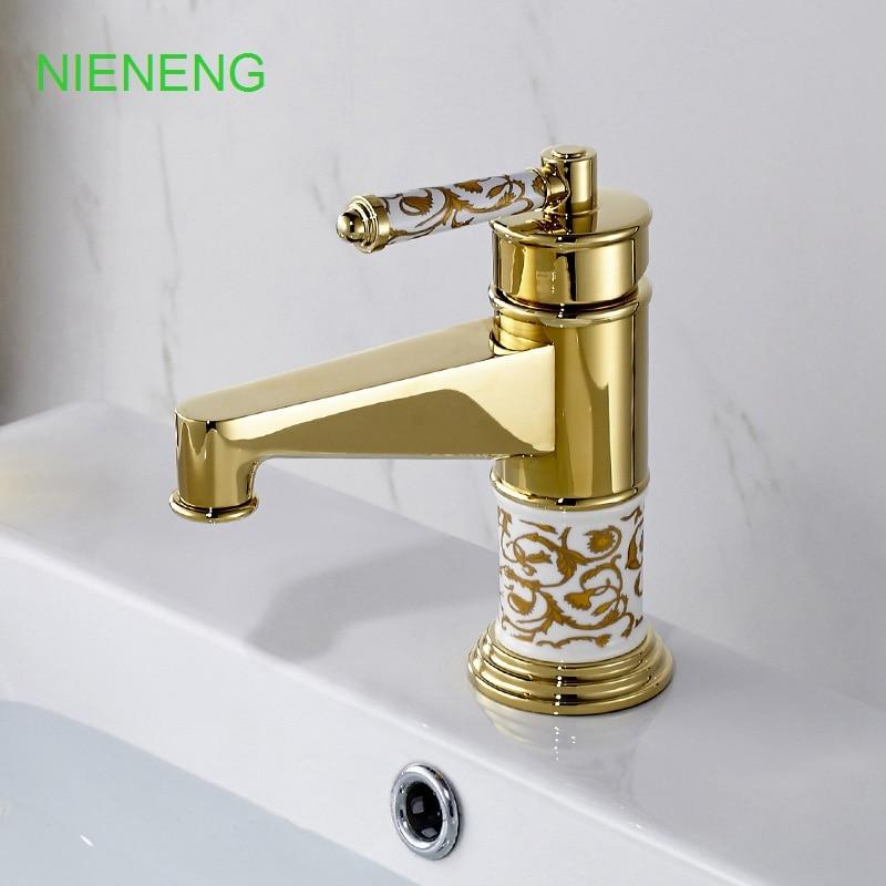 bathroom faucet brass golden sink faucets hand spinner tap bath accessories wash basin water gold mixer salle de bain ICD60119