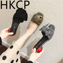 HKCP 2019 summer stylish new bow toe open low chunky sandals with a buckle comfortable all-purpose womens shoes A066