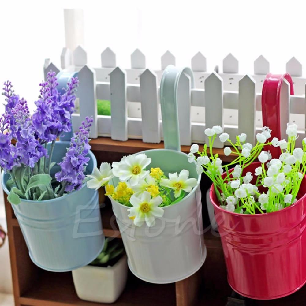 Metal Iron Flower Pot Hanging Balcony Garden Plant Planter Home ...